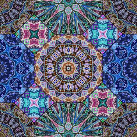 Beautiful seamless pattern of multicolored octagonal and quadrangular ceramic tiles on a black background. Print for fabric, wallpaper. 版權商用圖片