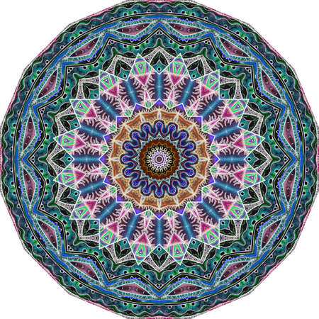 Decorative plate with ornamental mandala in ethnic style. Round pattern.