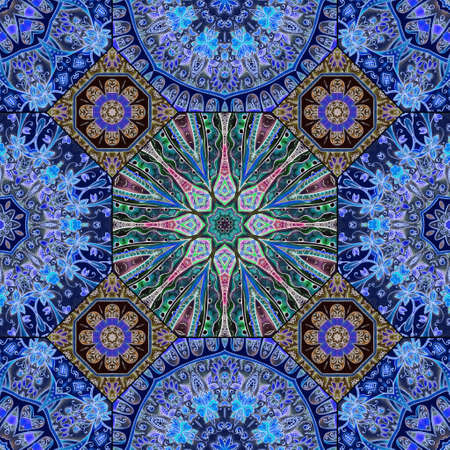 Mediterranean ornament of octagonal and square ceramic tiles in blue, green and brown colors. Luxurious seamless print for silk fabric. Carpet, shawl, pattern for bedding. 版權商用圖片 - 153674875