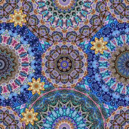Luxurious ornament with mandalas and lotus flowers in vintage style. A quarter of the pattern for fabric, shawl, scarf, carpet. Indian, arabic, moroccan, damask motifs.