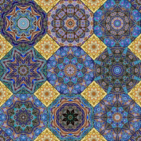 Marvelous pattern of octagonal tiles with mandalas and small quadrangular tiles with lotus flowers. Seamless print for fabric or wallpaper in ethnic style. 版權商用圖片