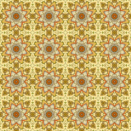 Seamless pattern with regular floral ornament. Print for fabric, textile, wrapping paper, wallpaper. 版權商用圖片 - 155706106