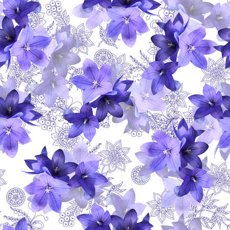 Seamless pattern with bluebells flowers on a background of elegant floral ornament. Delicate print for fabric, bedding, curtains.
