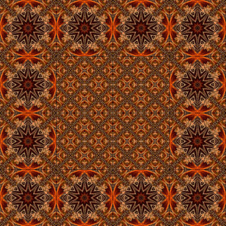 Ornate decorative color tiles for floor or wall. Abstract ornament with mandalas, stylized leaves and exquisite twigs of golden color on a shining orange and deep brown background. Seamless pattern. 版權商用圖片 - 155706109