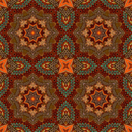 Seamless pattern with colorful ornament in ethnic style. Print for fabric, carpet, rug. 版權商用圖片