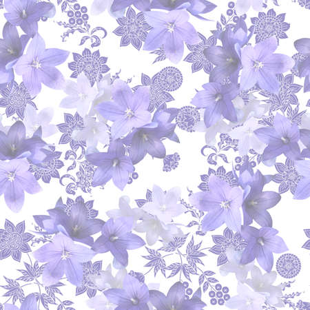 Delicate seamless pattern with light purple and white bluebells flowers of opposite a hand-drawn floral pattern on white background. Print for flowing silk fabric or exquisite wallpaper. Antistress or 版權商用圖片