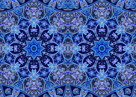 Beautiful seamless pattern with mandalas, stylized berries, leaves and flowers in sapphire and blue colors. Print for fabric, wallpaper, gift wrap.