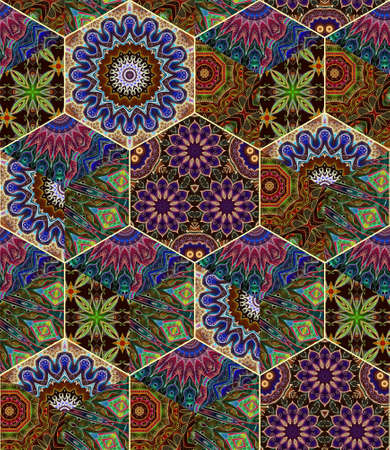 Honey comb tiles background with beautiful ethnic ornament. Print for fabric, unusual hexagon wallpaper, gift paper, tapestry, ceramic. 版權商用圖片 - 155706115