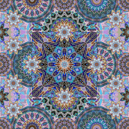 Seamless royal pattern with lotus flowers on a background of multi-colored mandalas. Exquisite fabric print. 版權商用圖片