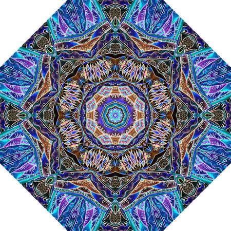 Wonderful abstract floral octagon tile design. Mediterranean or moroccan tribal ornaments. Print for umbrella, floor carpet, pattern fills, packaging cover. Sapphire, cobalt, golden - brown tones.