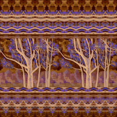 Artistic seamless pattern with trees and abstract ornament. Beautiful print for fabric.