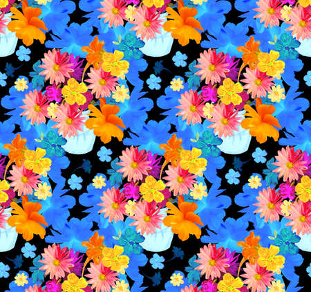 Repeating pattern with watercolor flowers in a vase against huge blue flowers on black background. Seamless print for fabric.