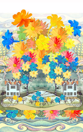 Beautiful fairytale landscape with houses and trees from big colorful flowers. Seamless pattern. Perfect design for kids room.