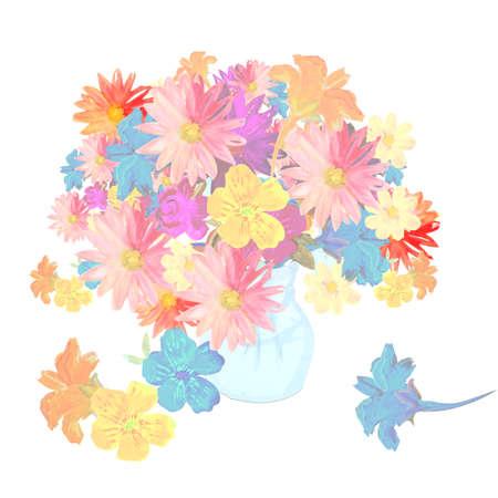 Delicate watercolor bouquet with summer flowers in vase. 版權商用圖片 - 155798082