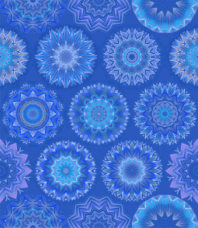 Blue winter background with intricate colorful snowflakes. Print for fabric, wallpaper, wrapping design. 版權商用圖片