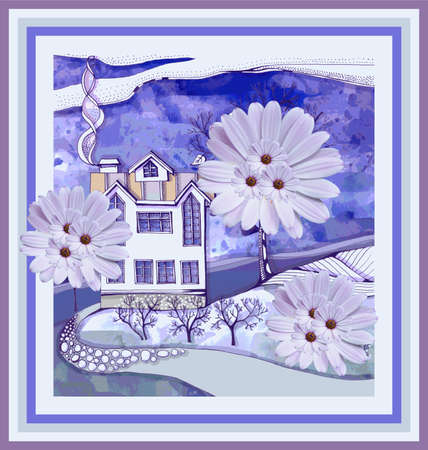 Beautiful card with house and fantasy trees from daisy flowers.