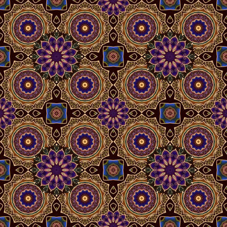 Luxurious seamless ornamental pattern with stylized golden lace, purple mandala flowers and blue quadrangular elements. Great print for fabric in ethnic style. 版權商用圖片