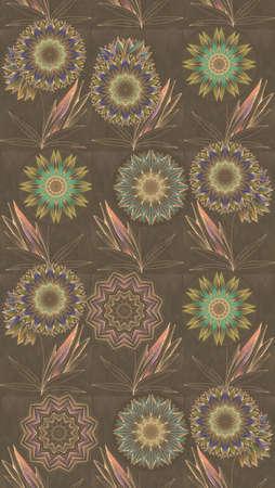 Beautiful seamless pattern with magic flowers. Elegant print for fabric, textile, wallpaper, curtains. 版權商用圖片