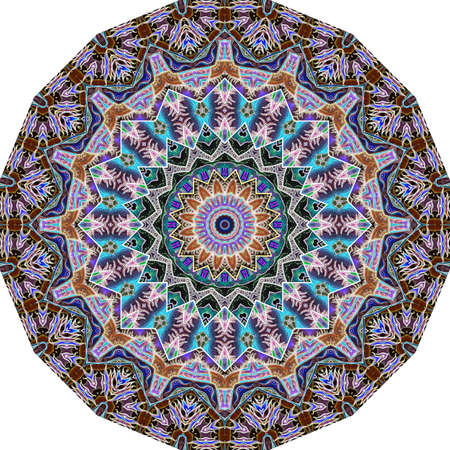 Magical round pattern with mandala similar to the sun in the center and luxurious ornamental frame in ethnic style. Round carpet, template for an umbrella, packaging design.