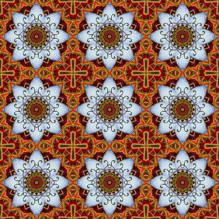 Beautiful seamless pattern with ornament from stylized lotus flowers. Print for fabric and textile. 免版税图像