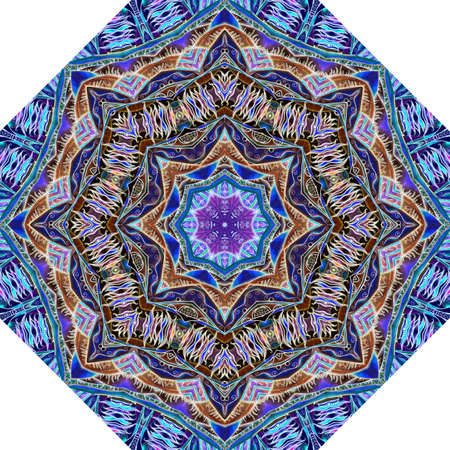 Motley fantasy octagonal pattern for an umbrella or carpet in ethnic style. A star, a stylized fur pattern, and a striped frame of ice color. Northern motives.