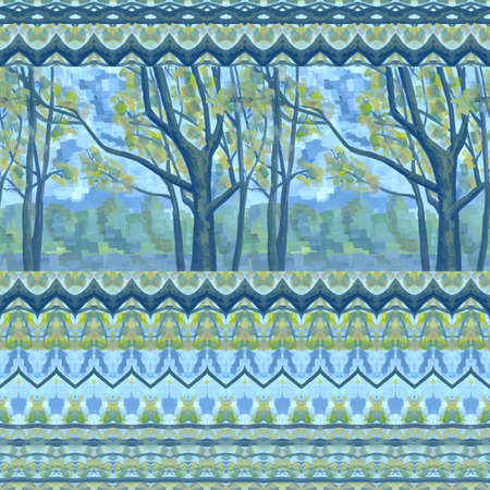 Seamless pattern of trees and decorative ornament. 免版税图像