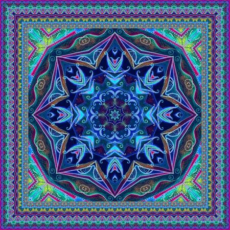 Beautiful shawl, square carpet, cushion or doily with mandala - snowflake and ornamental border. Fashionable accessory. 免版税图像