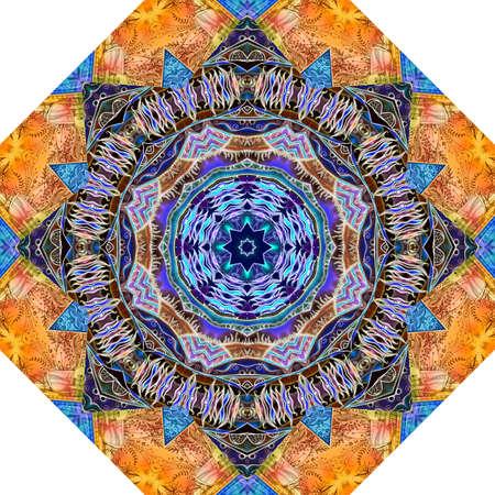 Beautiful octagon ornamental pattern with stylized mandala. Ethnic motifs. Print for carpet, rug, umbrella.