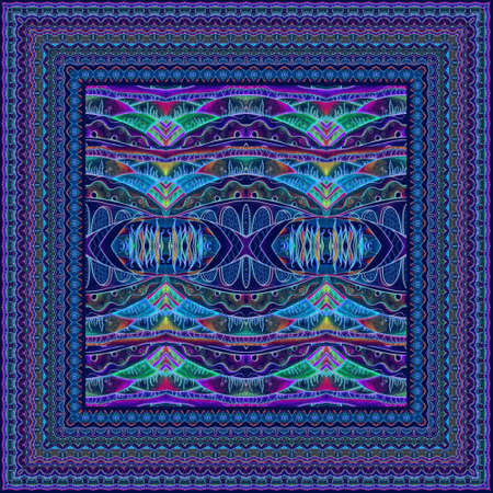 Fantasy ornamental pattern and lace border. Shawl, square carpet, napkin, handkerchief. Freehand print. 免版税图像