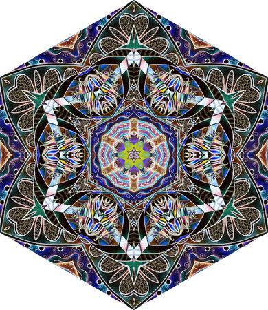Intricate ornament for hexagonal ceramic tile or carpet in ethnic style. Interior design. 免版税图像