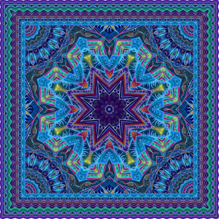 Luxurious carpet with a mandala in the shape of a snowflake or print for a fashionable silk scarf in ethnic style.