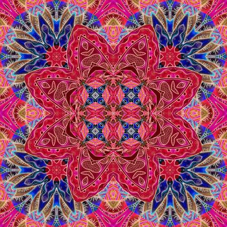 Bright seamless pattern with large bright raspberry blossom flower. Scarf, napkin, carpet, ceramic tile.