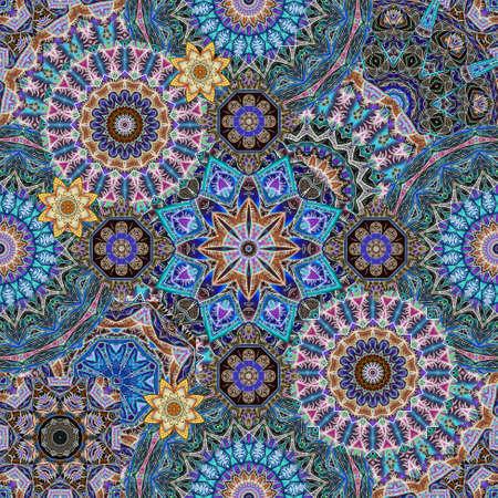 Luxurious seamless pattern with mandalas and stylized lotus flowers. Carpet, hawl, shawl in ethnic style. 版權商用圖片