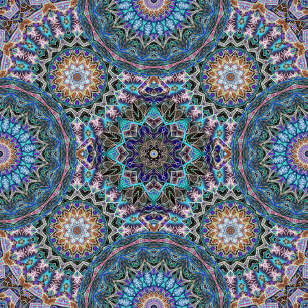 Seamless pattern with mandalas and flowers in ethnic style. Moroccan, arabic, indian motifs. Carpet, shawl, shawl, tapestry, fabric pattern, beautiful wallpaper.