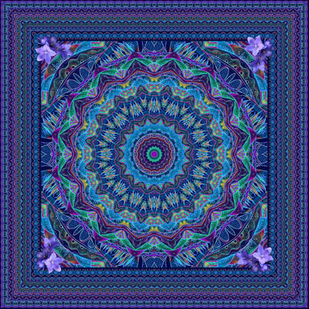 Print for a square silk scarf with a magnificent mandala, bluebells flowers and a decorative frame.