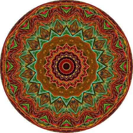 Round carpet with sun-shaped mandala in terracotta and emerald colors. Interior Design.