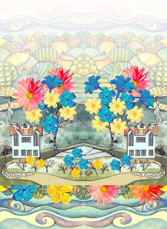 Fabulous landscape with blooming spring trees and beautiful houses against the backdrop of hills. Print for fabric, wallpaper, bed linen. 免版税图像