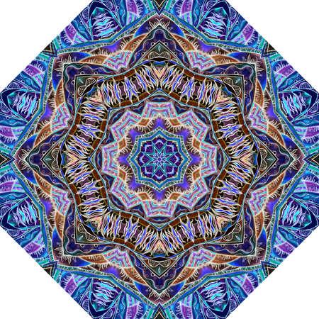 Ornate mandala pattern. Octagonal design for umbrella, rug, decorative cushion