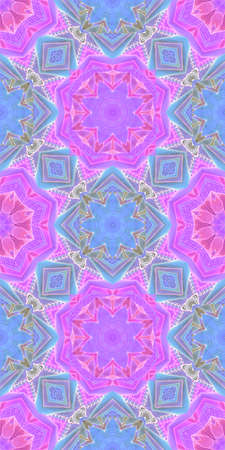 Seamless pattern with watercolor ornament in pink and blue colors.