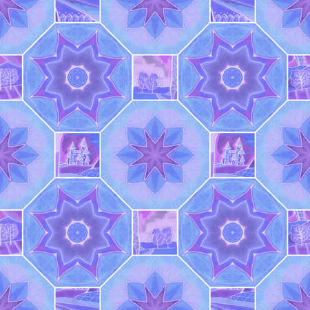Beautiful seamless pattern with octagonal and square tiles with stylized flowers, castles and trees. Watercolor ornament in patchwork style.