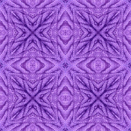 Knitted seamless pattern with relief ornament in violet colors. Print for fabric and textile.
