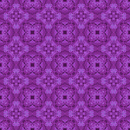 Decorative seamless pattern with knitted ornament. Print for fabric in purple colors.