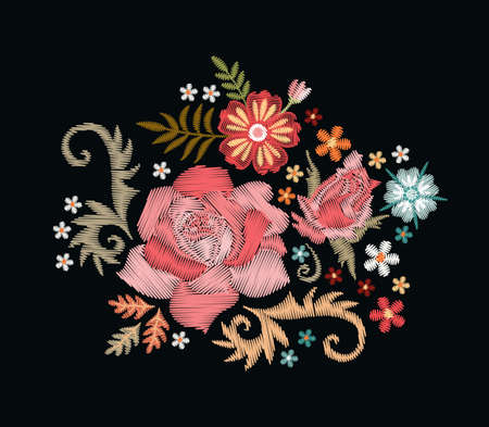 Embroidery floral pattern with rose flower and bud. Beautiful ornament on black background. Ilustracja