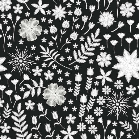 Embroidery seamless design. Beautiful pattern with white flowers on black background. Fashion print for fabric.