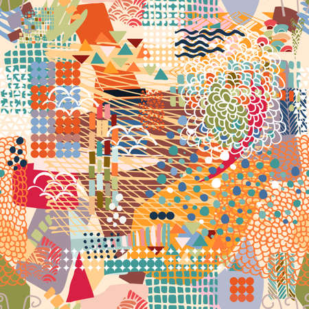 Abstract seamless pattern with colorful hand drawn elements.