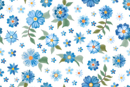 Embroidery seamless pattern with blue wild flowers on white background. Fashion design for fabric, textile, wrapping paper. Fancywork print. Vector illustration.