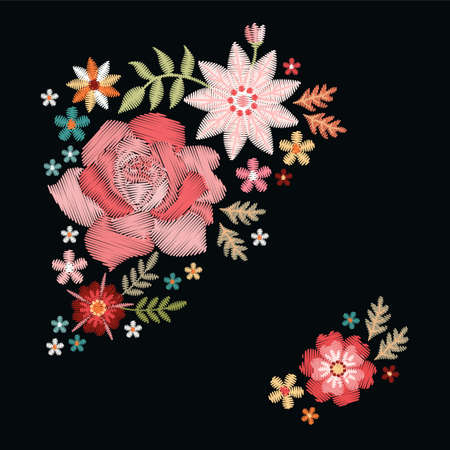 Embroidery pattern with roses and flowers. Vector embroidered floral compositions