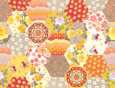 Cute seamless patchwork pattern with flowers and polka dot ornaments in warm yellow colors