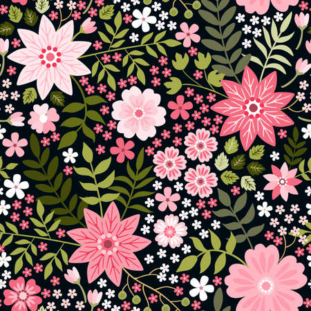 Ditsy seamless pattern with pink flowers and green leaves on black background. Beautiful print for fabric, textile, wrapping paper Ilustracja