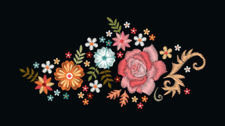 Floral composition with rose and other flowers on black background. Embroidered bouquet. Ilustracja